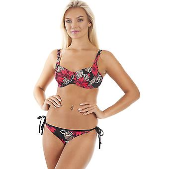 Camille Red And Brown Floral Underwired Black Bikini Top