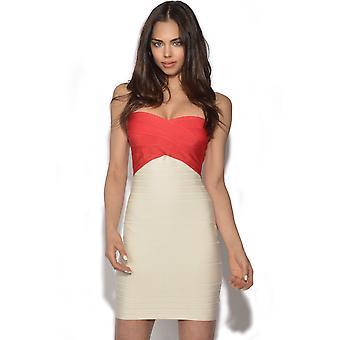 Farge blokker Bandeau bandasje kjole