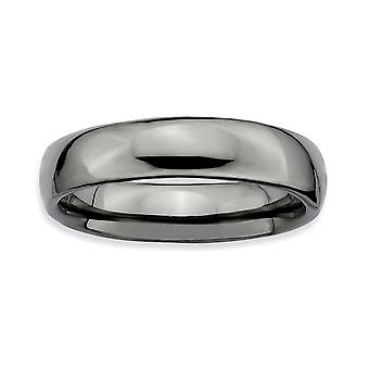 Sterling Silver Ruthenium plating Stackable Expressions Black-plated Polished Ring - Ring Size: 5 to 10