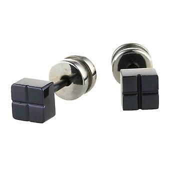 Ti2 Titanium Square Stud Earrings - Black