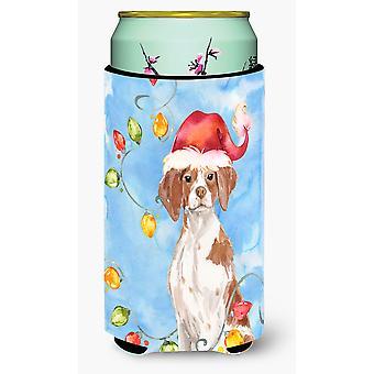 Christmas Lights Brittany Spaniel Tall Boy Beverage Insulator Hugger