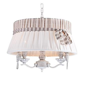 Maytoni Lighting Bird Large Drum Shade Chandelier In Ant White With Bird Design