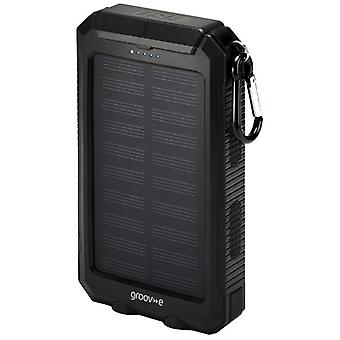 Groov-e GVCH8000SBK Portable Solar Charger 8000mAh with Dual USB - Black