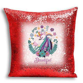 i-Tronixs - Unicorn Printed Design Red Sequin Cushion / Pillow Cover with Inserted Pillow for Home Decor - 13