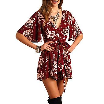 SHEIN Shorts Rompers Womens Jumpsuits summer women Red Sexy deep V neck Short Sleeve floral Tie Waist Casual Jumpsuit