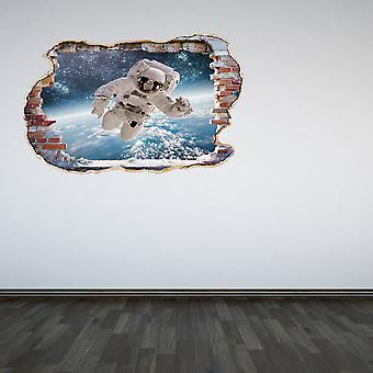 Full Colour Astronaut Smashed Wall 3D Effect Wall Sticker