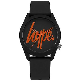 Hype | Black Silicone Strap | Black And Orange Dial | HYU001BO Watch