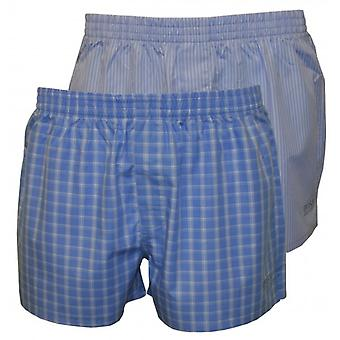 Boss 2-Pack Woven Boxer Shorts, Blue Check & Fine Stripes