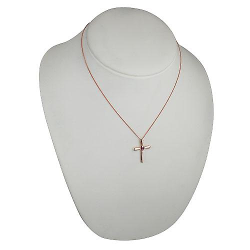 9ct Red Gold 30x22mm plain fancy Cross set with a Ruby on a curb chain