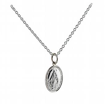 Silver 16x11mm  Miraculous Medallion Medal Pendant with a rolo Chain 14 inches Only Suitable for Children