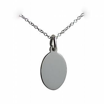Silber 16x11mm plain Oval Disc mit einem Rolo Kette 14 Zoll nur geeignet für Kinder