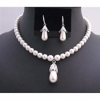 Bridal Handcrafted White Pearls Bridal 8mm Teardrop Earrings & Pendant