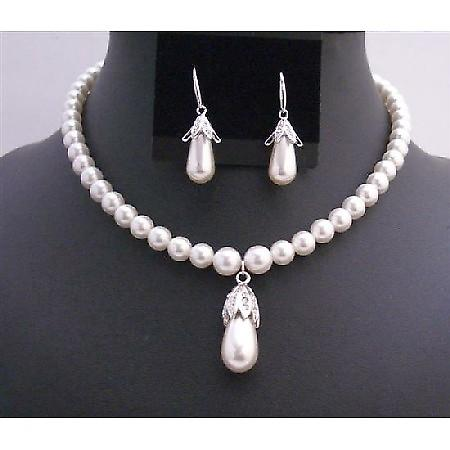 Bridal Handcrafted White Pearls Bridal 8mm Teardrop Earrings & Pendant