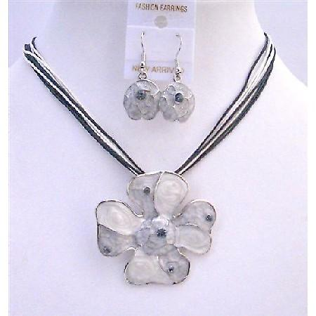 Grey Pendnat Jewelry Set Enamel Grey Multi Stranded Necklace Set