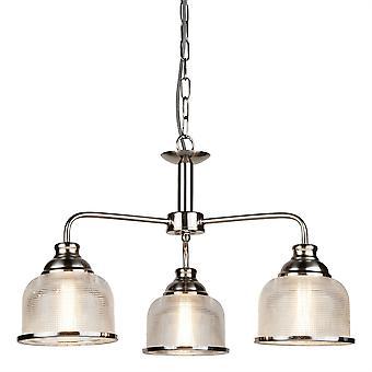 Bistro Ii cetim prata três luz redonda pingente - holofote 1683-3SS