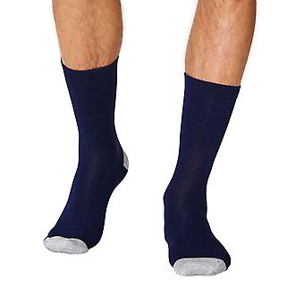 Solid Jack men's soft plain bamboo crew socks in navy | By Thought