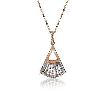 Orphelia 925 srebrny wisior z łańcuszkiem 42 CM z zaokrąglonego trójkąta i cyrkonu