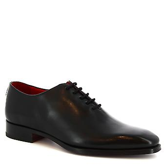 Leonardo Shoes men's handmade lace-ups Oxford shoes in black calf leather
