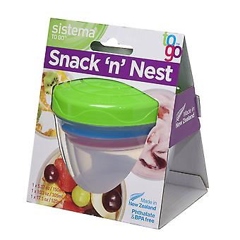 Sistema Stack 'n' Nest To Go Pots, Set of 3