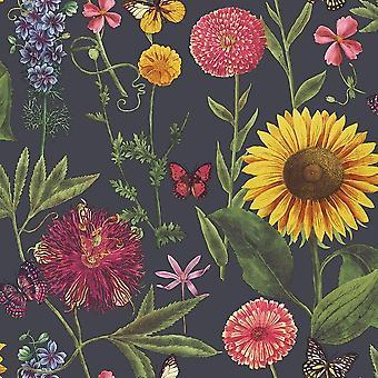 Summer Garden Floral Wallpaper Flower Sunflower Butterfly Leaf Charcoal Arthouse