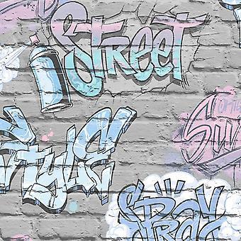 Kinder Graffiti Backstein Tapete Metallic Pink blau grau lila Urban Ugepa