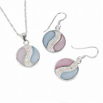 Toc Sterling Silver Pink and Blue Pendant and Drop Earrings Set