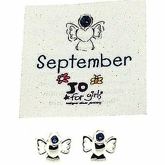 Jo For Girls Sterling Silver September Birthstone Angel Sapphire Colour Earrings