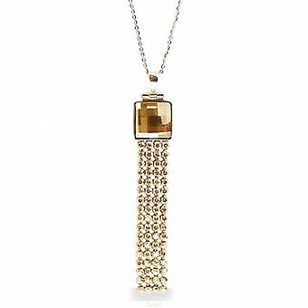 Spark Golden Shadow Crystal Mesh Pendant on 925 Silver 16 - 18