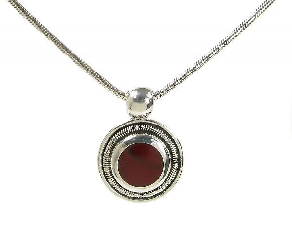 Cavendish French Silver and Formed Red Jasper Round Pendant without Chain