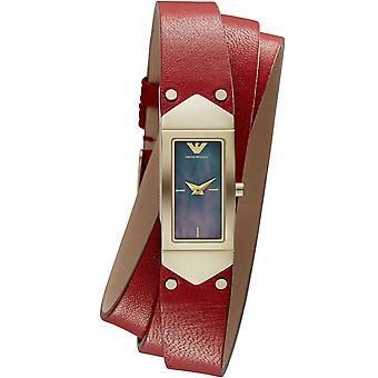 Emporio Armani Ar7357 Quartz Black Dial Triple Wrap Leather Watch