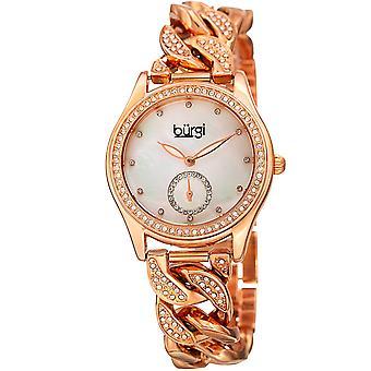 Burgi Women's Swarovski Crystal Rose-Tone Link Chain Bracelet Watch BUR177RG