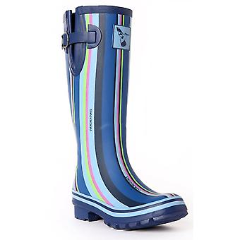 Evercreatures Ladies Funky Rubber Wellies Blue Striped Pattern - Various Sizes