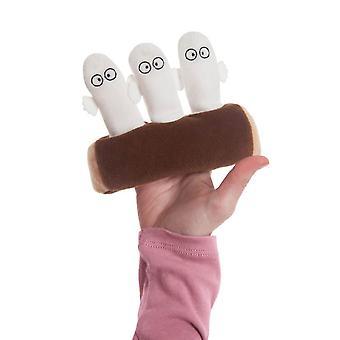 Les Moomins Hattifatteners sur une marionnette de doigt de bûche