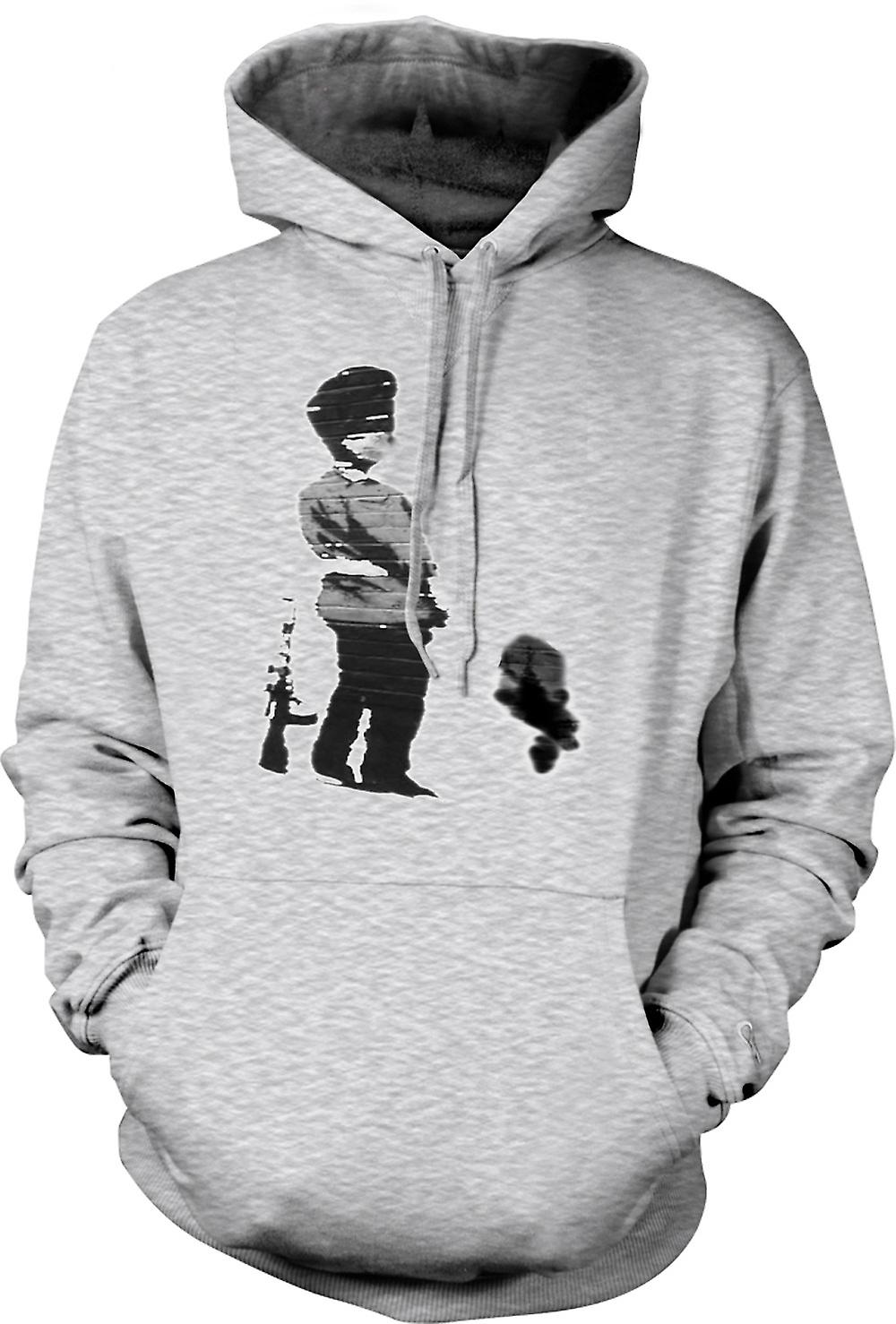 Mens Hoodie - Banksy Graffiti Art - Soldier