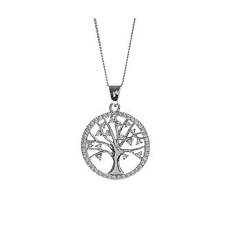 Eternity Sterling Silver Rhodium Plated Round Cubic Zirconia Tree Of Life Pendant And Chain