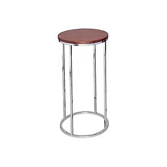 Gillmore Space Walnut And Silver Metal Contemporary Circular Lamp Table