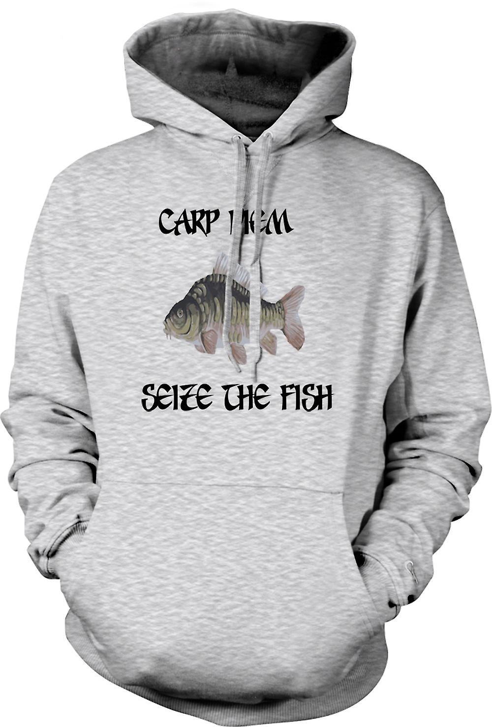Mens hettegenser - Karpe Diem - gripe fisken - morsomt