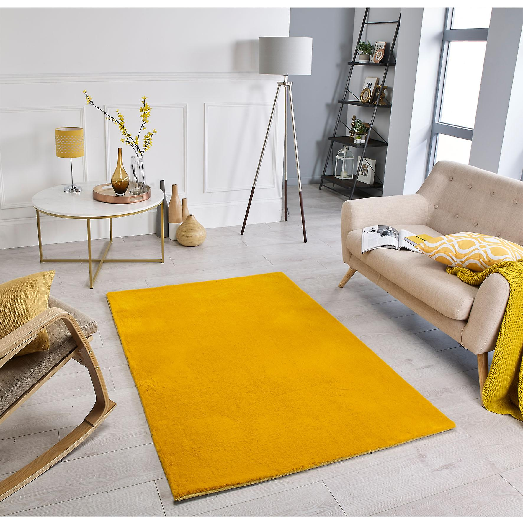 Comfy Mustard Rectangle Rugs Plaine   Presque Plaine Rugs