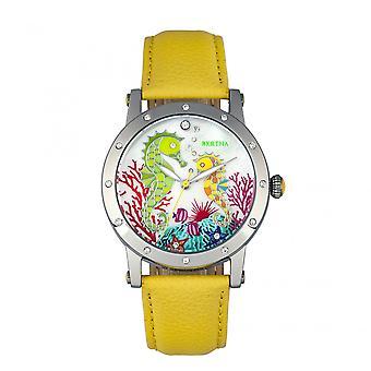 Bertha Morgan MOP Leather-Band Ladies Watch - Silver/Yellow