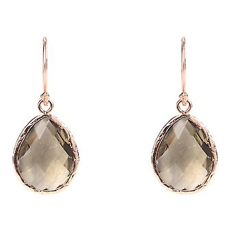 925 Sterling Silver Earrings Small Dangle Drop Rose Gold Brown Quartz Smokey