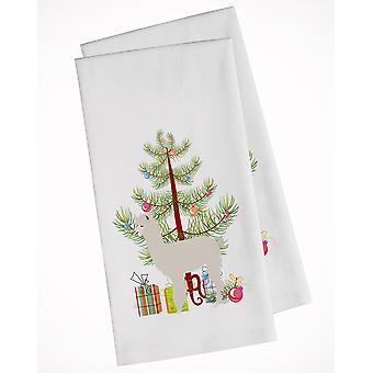Carolines Treasures  BB9286WTKT Alpaca Christmas White Kitchen Towel Set of 2
