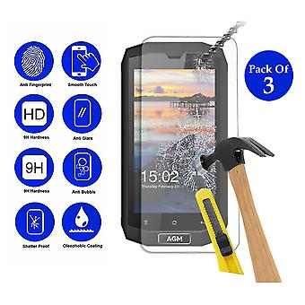 Pack of 3 Tempered Glass Screen Protection For Agm A1Q 5