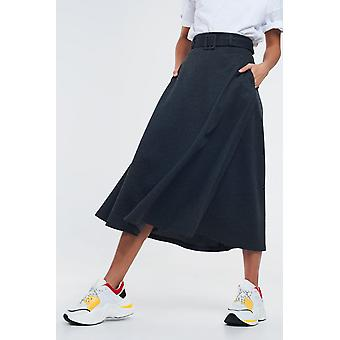Gray midi skirt with belt and pockets