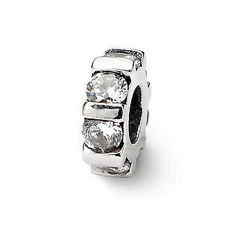 925 Sterling Silver Antique finish Reflections SimStars Cubic Zirconia Bead Charm