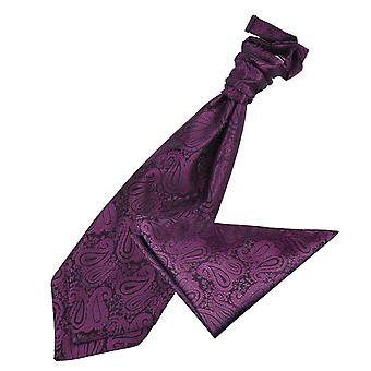 Paisley Purple mariage Cravat & mouchoir de poche Set