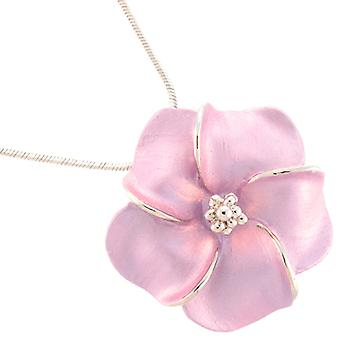 Silver Plated Matt Lilac Daisy Flower Pendant Necklace Chain