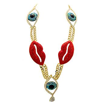 Butler & Wilson Large Multi Crystal Eye & Lips on Chunky Chain Necklace