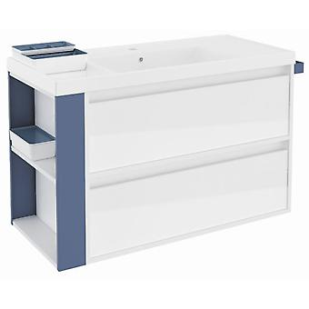 Bath+ Sink Cabinet 2 Drawers With Resin White Gloss Blue 100Cm