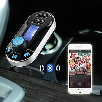 ONX3 Apple iPhone 7 Pro 5 in 1 Wireless Bluetooth Car Kit Modulator with Music Player FM Transmitter, Dual USB Car Charger, Support SD/TF Card, Music Control, Hands-Free Calling