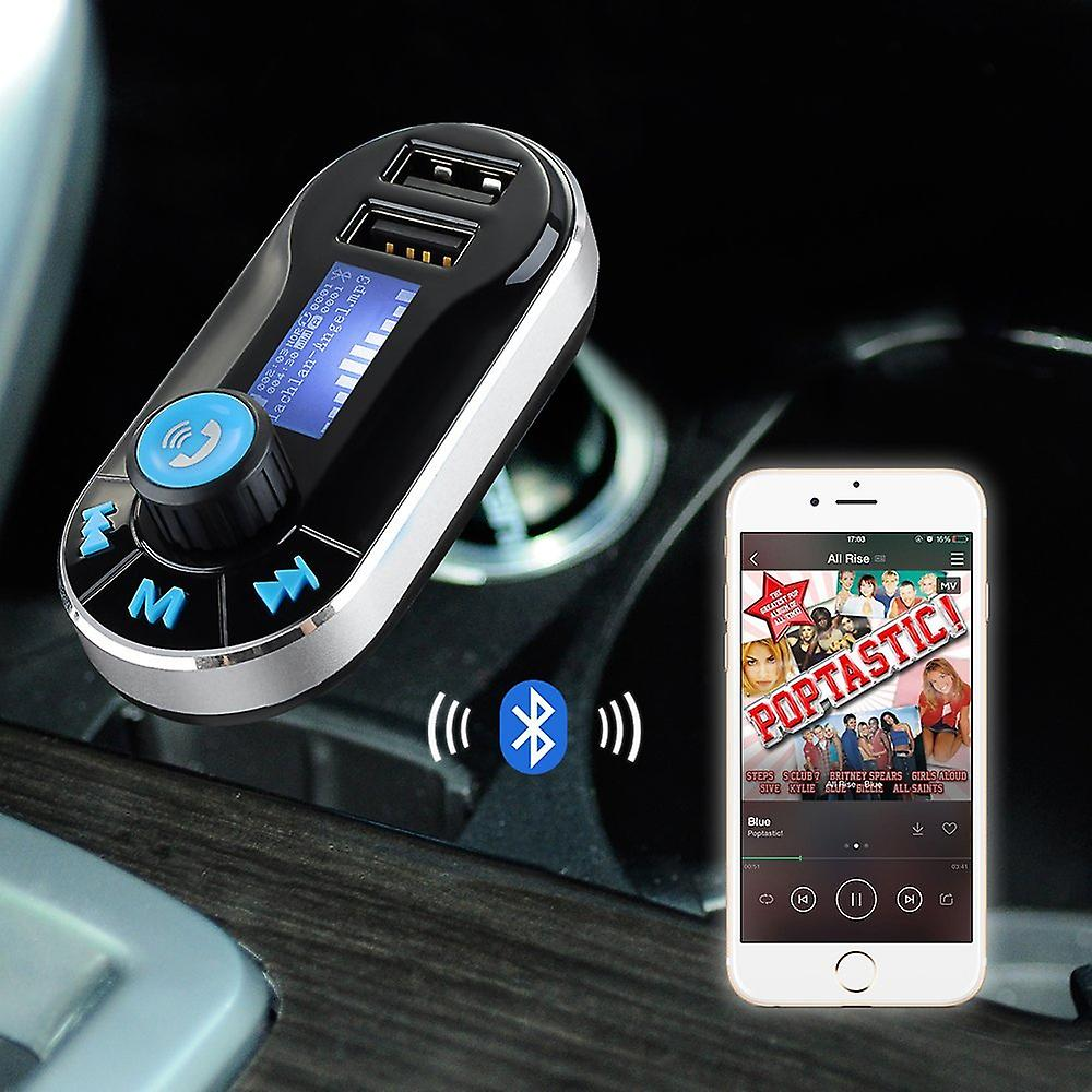 ONX3 Asus Zenfone Zoom ZX551ML 5 in 1 Wireless Bluetooth Car Kit Modulator with Music Player FM Transmitter, Dual USB Car Charger, Support SD/TF Card, Music Control, Hands-Free Calling